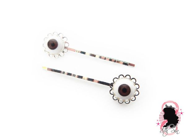 Antique Silver Eyeball Hair Slides